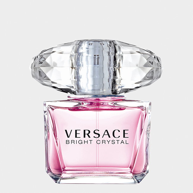 Versace Bright Crystal Perfume in a clear, square, glass bottle with a large glass cap