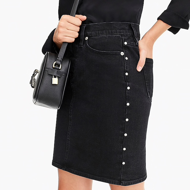 Valentine's Day Date Outfits J.Crew Structured Black Mini Skirt With Studs