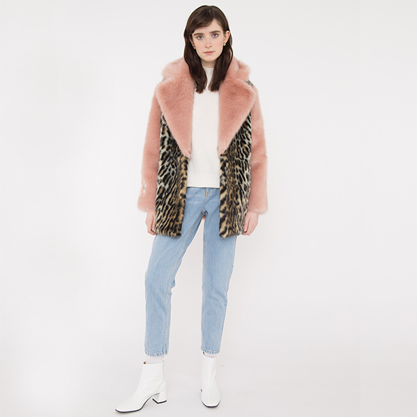 faux fur leopard coat with pink fur collar