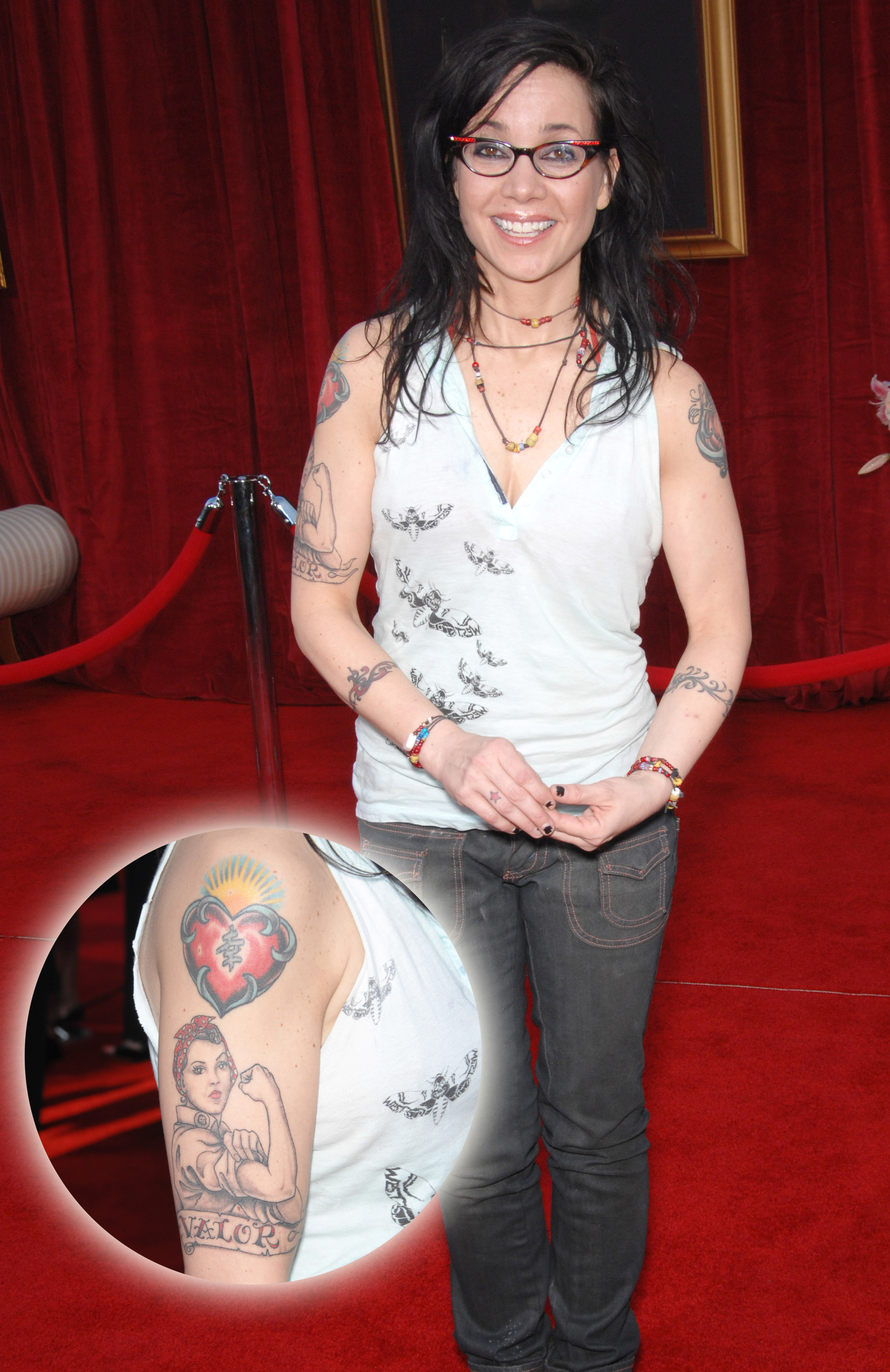 "9cfa010a4 Stand-up comedian, actress, and activist Janeane Garofalo has a decent-size  collection of tattoos, including this Rosie the Riviter portrait with  ""Valor"" ..."