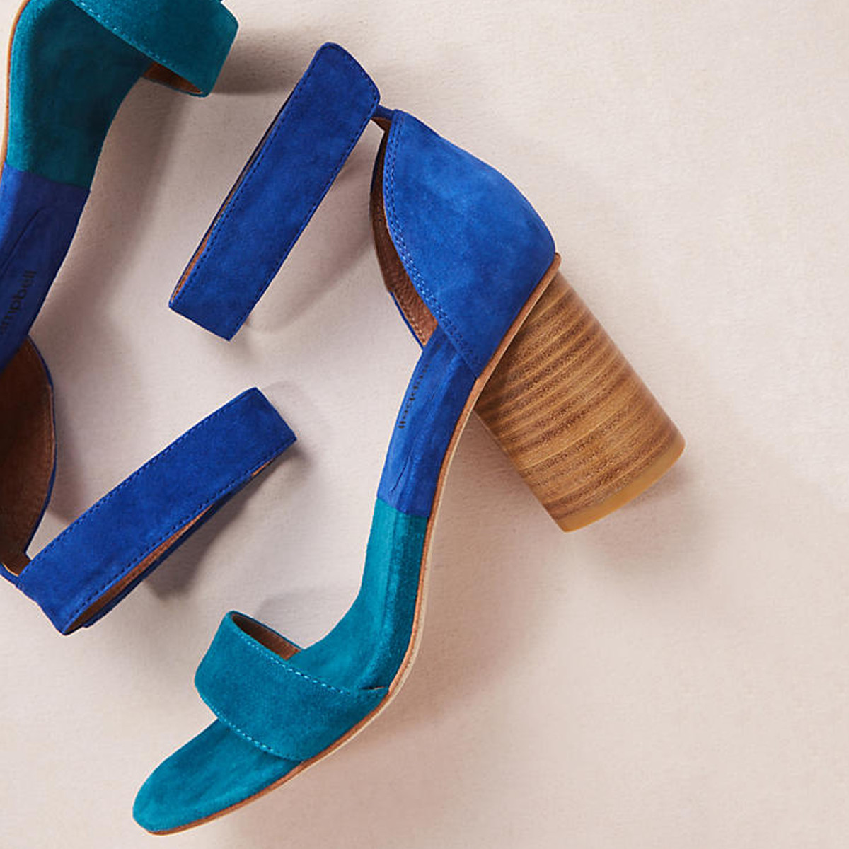 two toned blue block heels