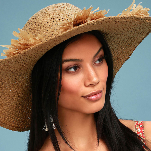 straw pom-pom sun hats for women