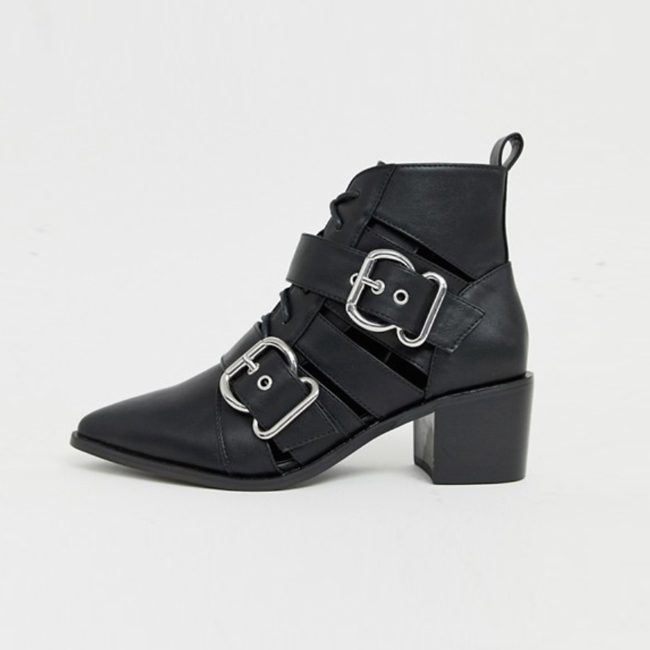 Profile photo of black leather pointy-toe bootie with cut-outs, silver buckles, and block heel