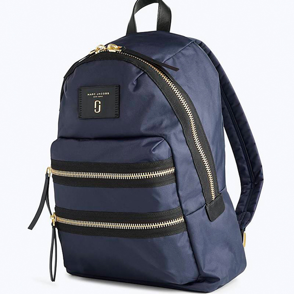 Marc Jacobs backpack in navy blue with gold zippers