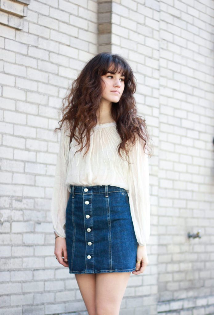 denim skirt outfits with a button front skirt and white tee