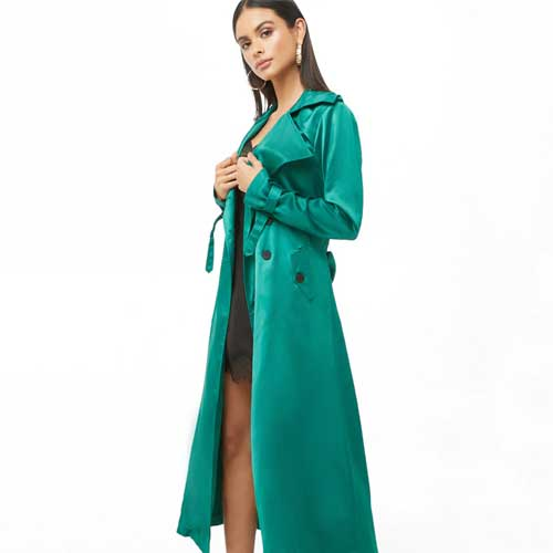 Forever 21 emerald satin trench coat