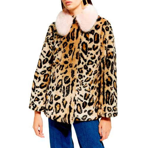Topshop faux fur leopard print coat with oversize pink collar