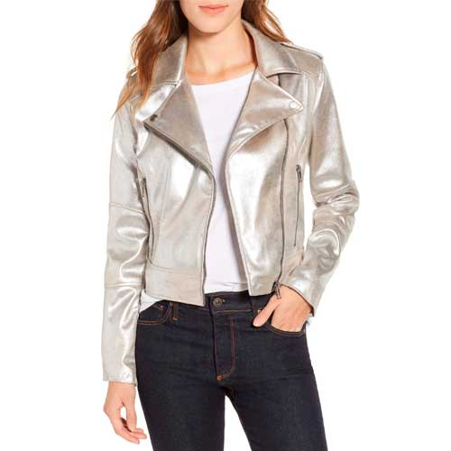 Cupcakes and Cashmere metallic faux suede moto jacket