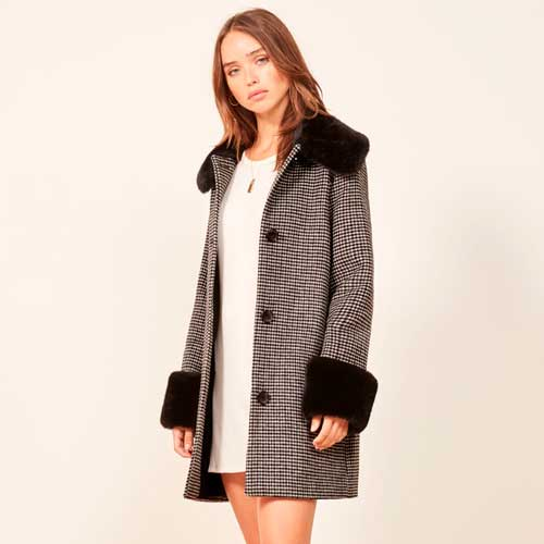 Reformation black and white houndstooth wool coat with faux fur cuffs