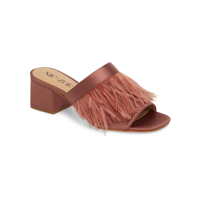 Profile photo of rose colored satin open-toe block-heel mules with feather fringe across top
