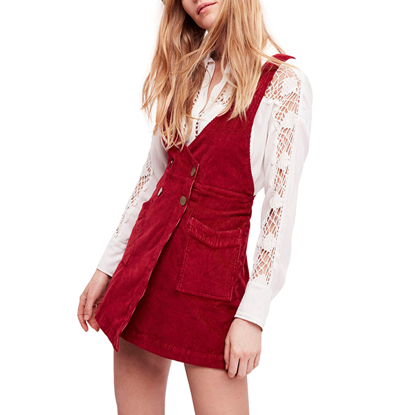red corduroy overall dress
