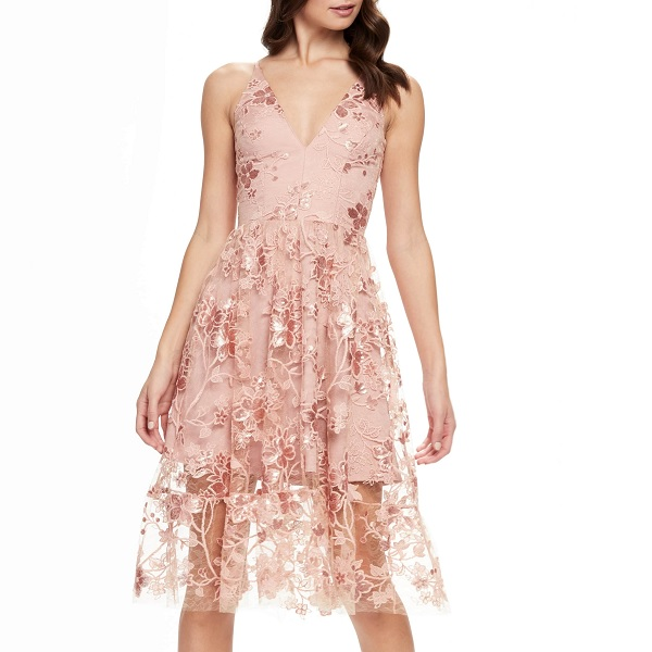 pink floral lace Nordstrom prom dress