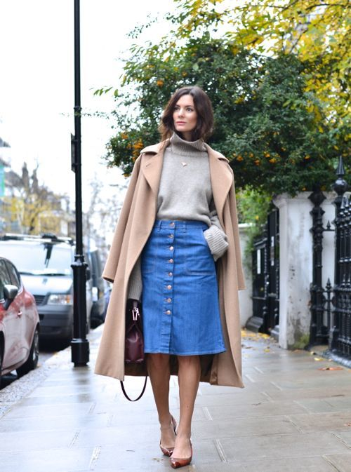 denim skirt outfits for fall with a sweater and coat