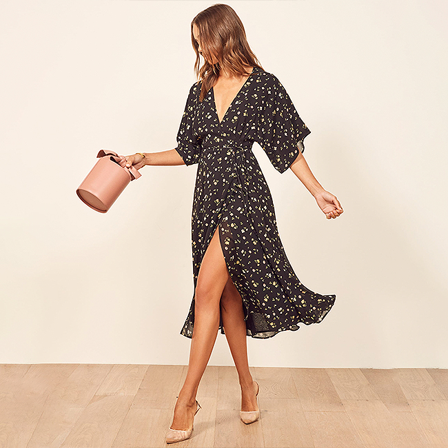 Special occasion dress, midi length dark floral, kimono sleeve dress