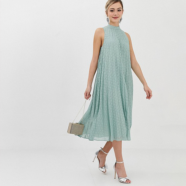 Special occasion dress, sage green lace, pleated trapeze dress