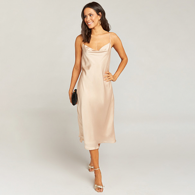 Special occasion dress, champagne satin cowl neck dress