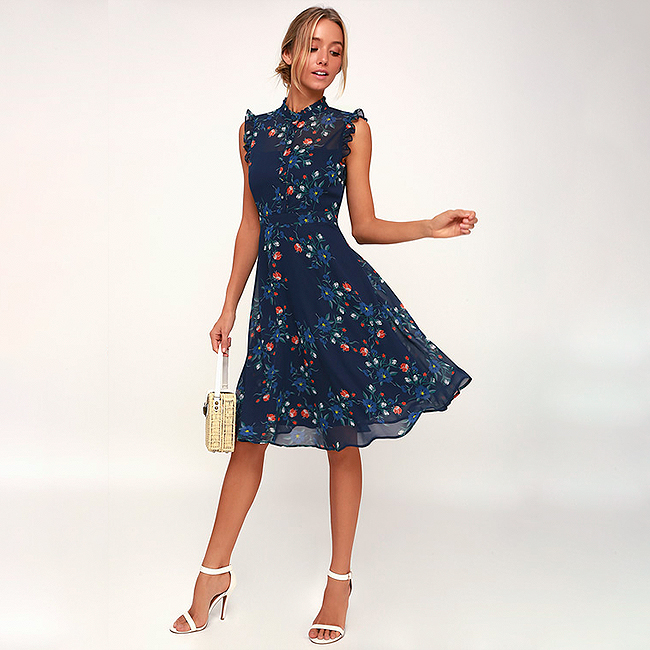 Special occasion dress, navy blue floral midi dress