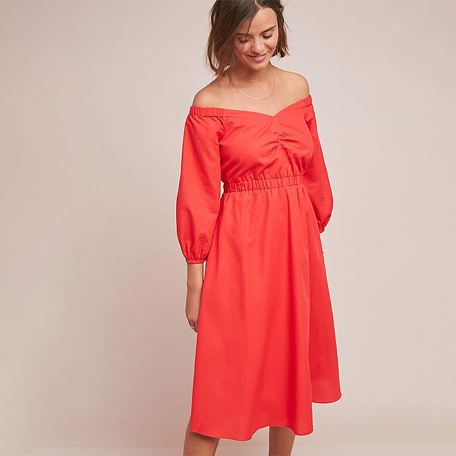 Special occasion dress, cotton red off-the-shoulder dress