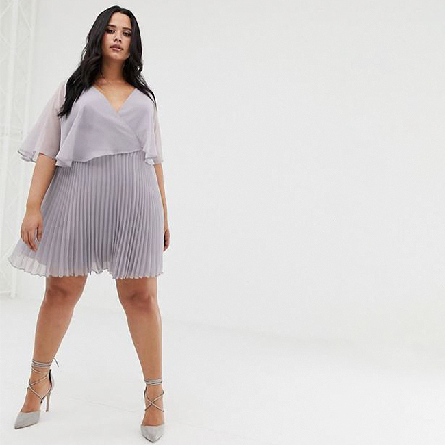 Special occasion dress, grey flutter sleeve plus-size mini dress with a pleated skirt