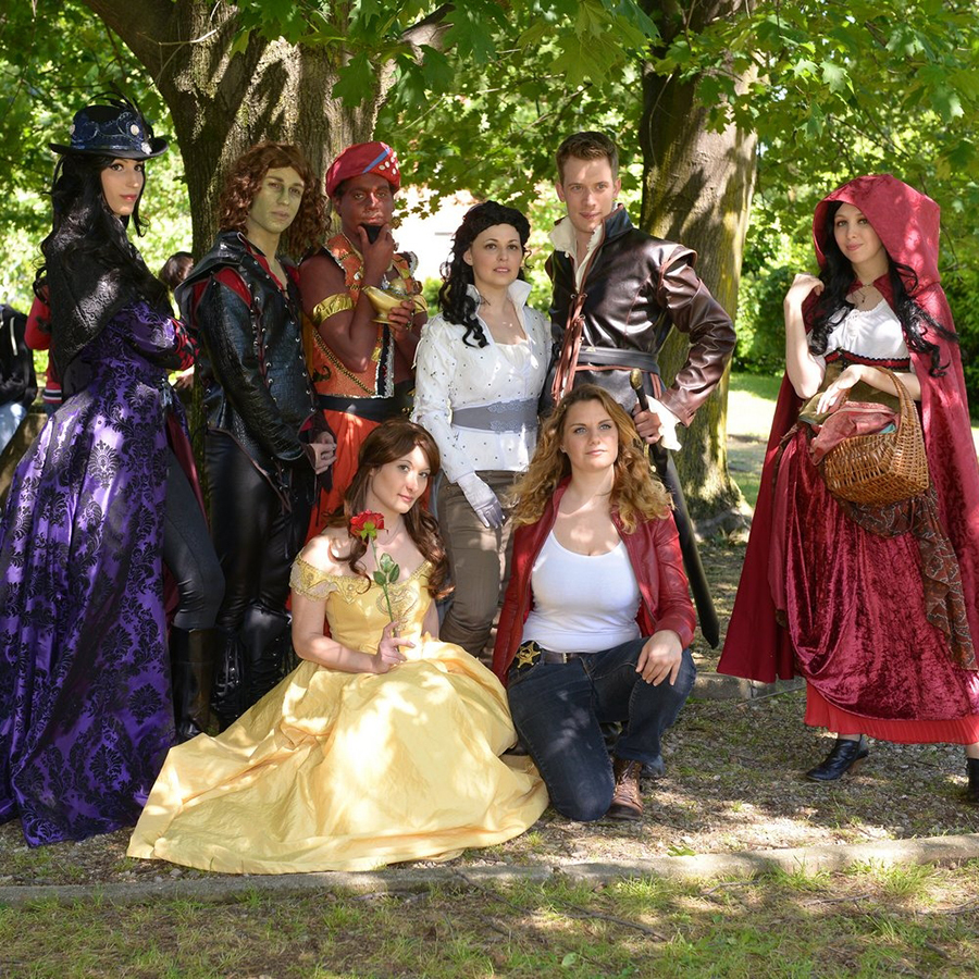 cosplayers in a once upon a time group costume