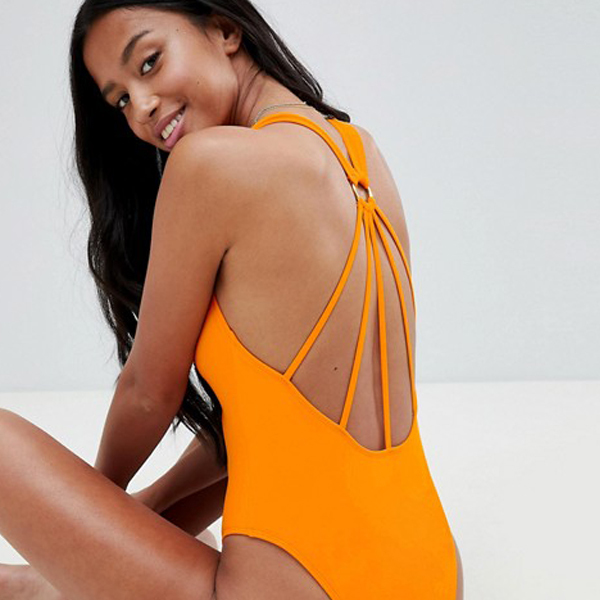 ASOS cheap swimsuits like this orange strappy back one-piece