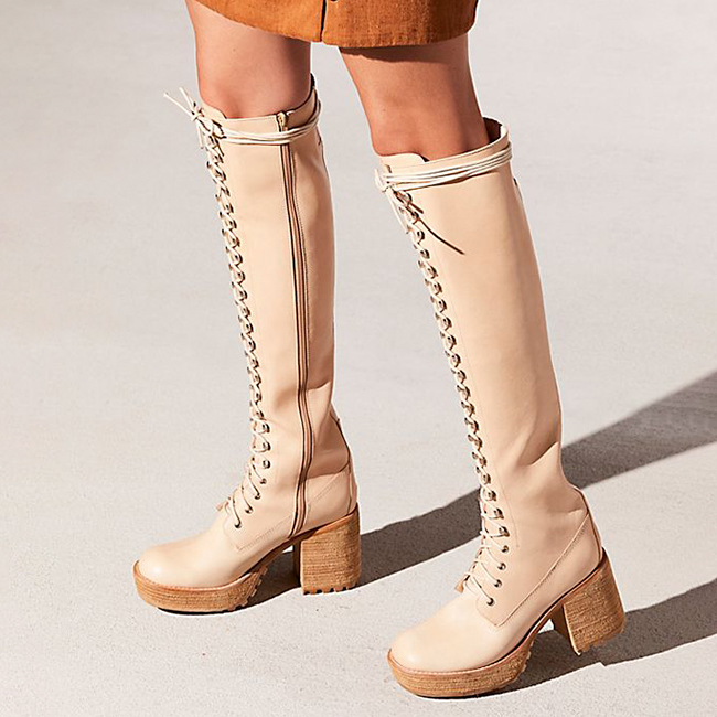 D-ring lace up over the knee boots