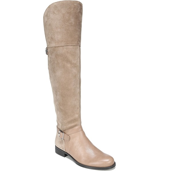 brown flat over the knee boots