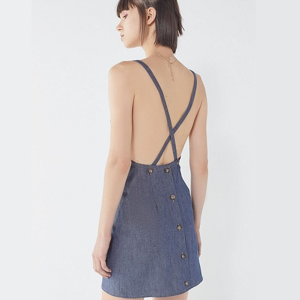 denim overall dress with apron dress details