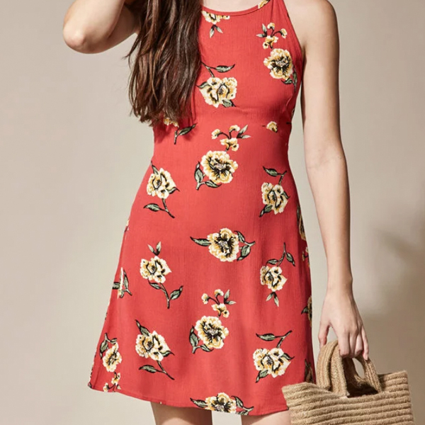 red sleeveless floral dresses
