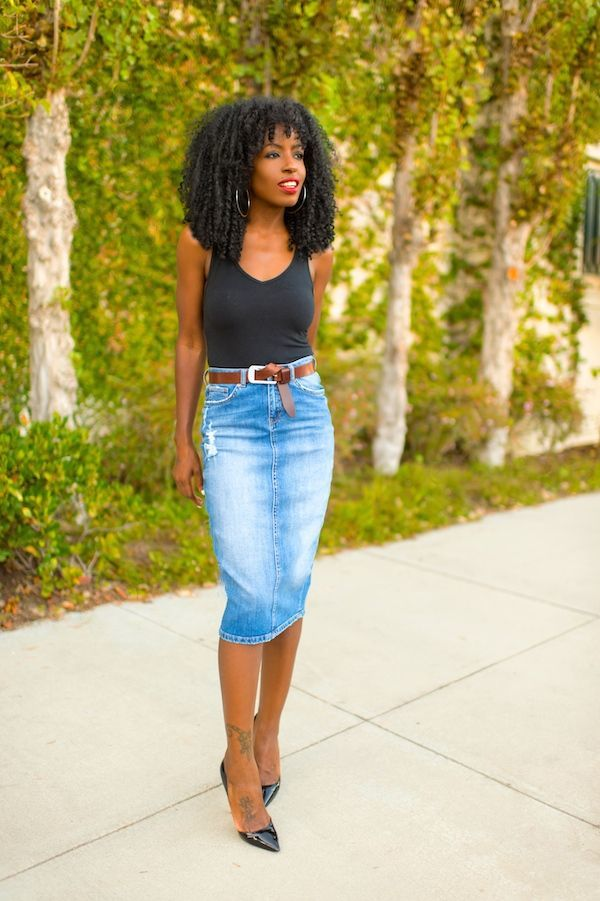 ways to wear a denim skirt