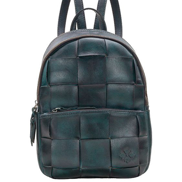 blue woven leather backpack