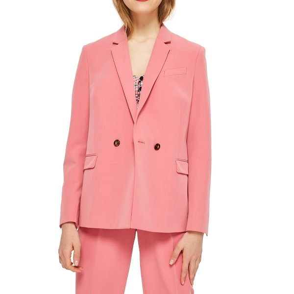pink suit with double-breasted jacket and pants