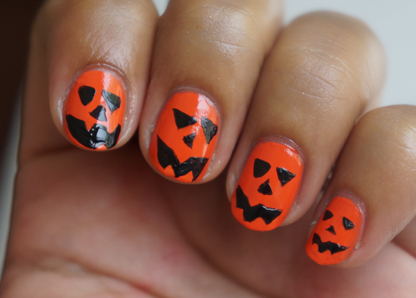 jack o lantern halloween nails