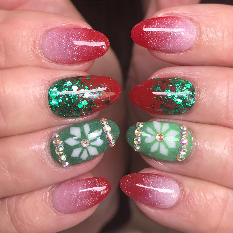 Red Ombre Nails Christmas.These 25 Snowflake Nail Designs Will Have You Feeling Chill