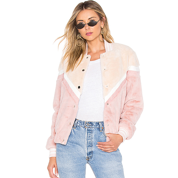 faux fur bomber jacket in pink