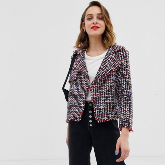 Lightweight Spring Jackets River Island Boucle Jacket in Multi