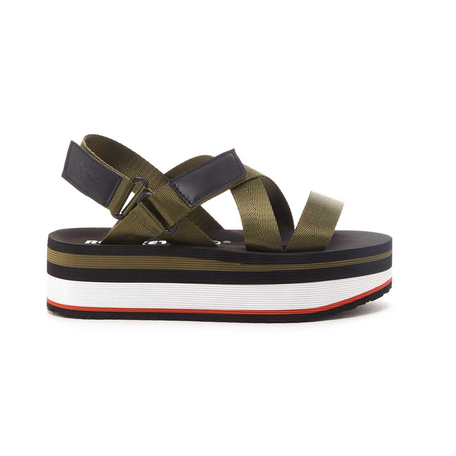 Profile photo of black, red, and olive thick platform sandal with olive webbing straps