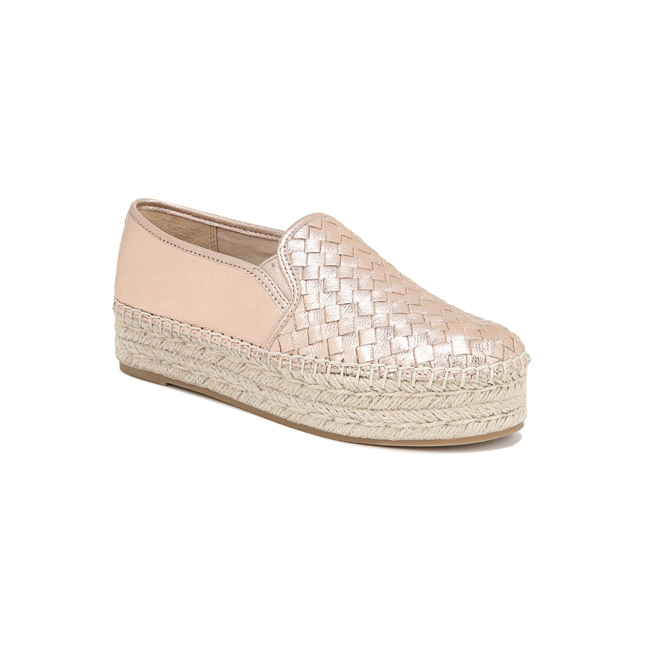 Profile photo of metallic blush woven leather sneaker on an exaggerated espadrille platform sole