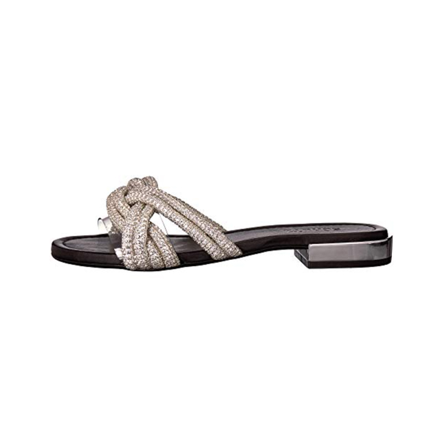 Profile photo of silver braided top strap slide sandals with low metal block heel