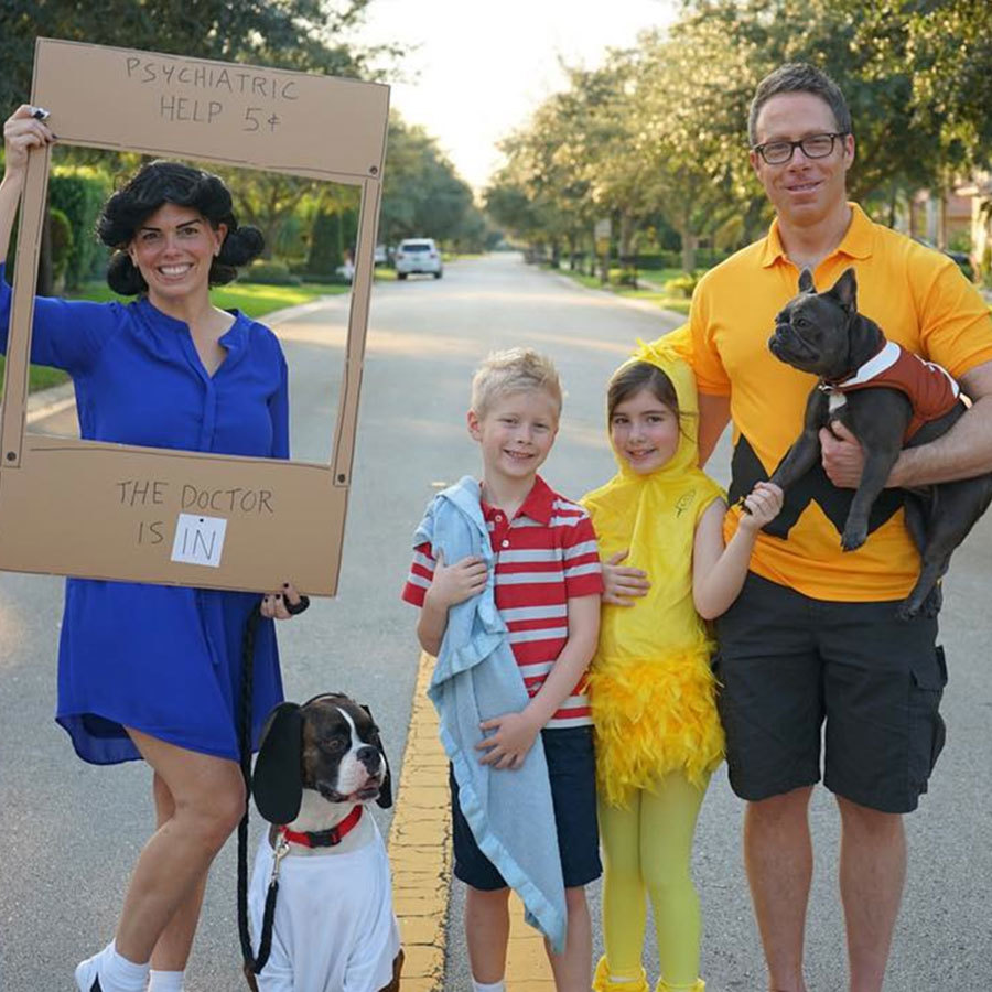 peanuts characters group halloween costume in a family
