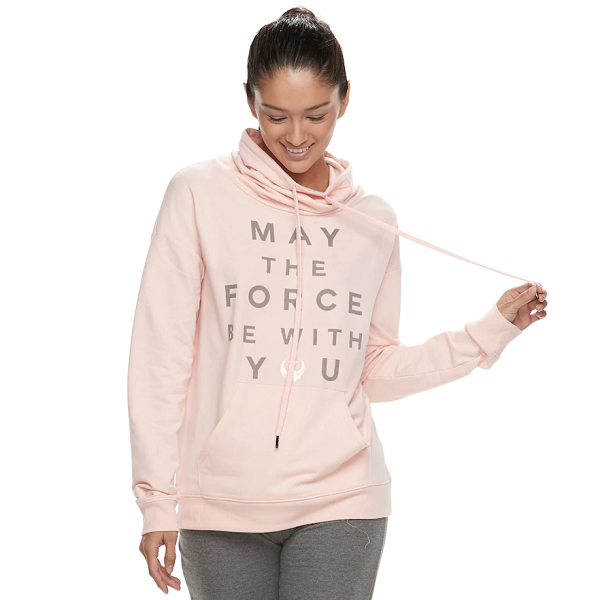 May the Force be with you in your barre class wearing this ballet pink sweatshirt.