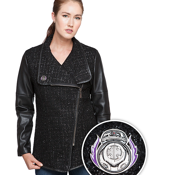 OK, so it's not as precious as BB-8, but BB-9E scores some style points with this all-black (of course), faux-leather-sleeved jacket.