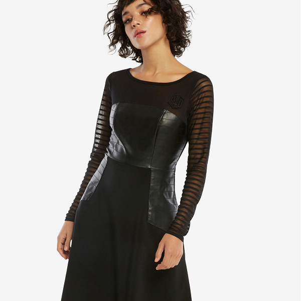 Are you willing to expose yourself as an Empire sympathizer in this jet black, Kylo Ren helmet dress?