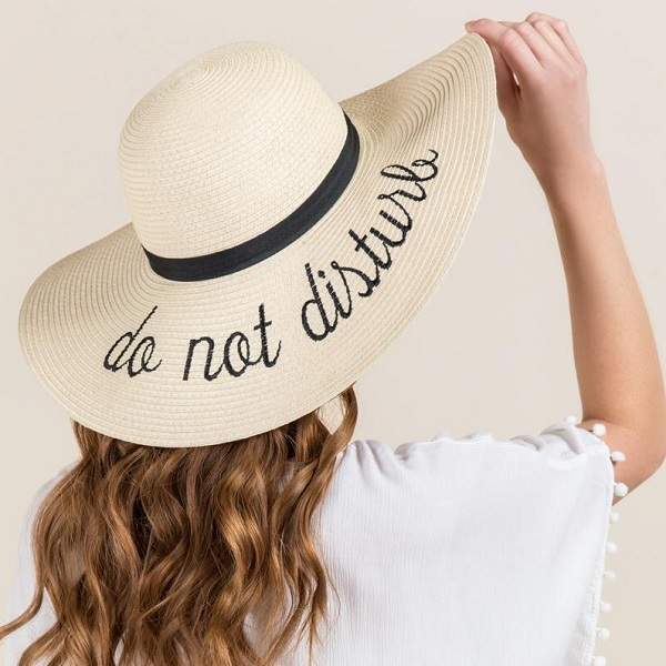 straw sun hats for women with words on them