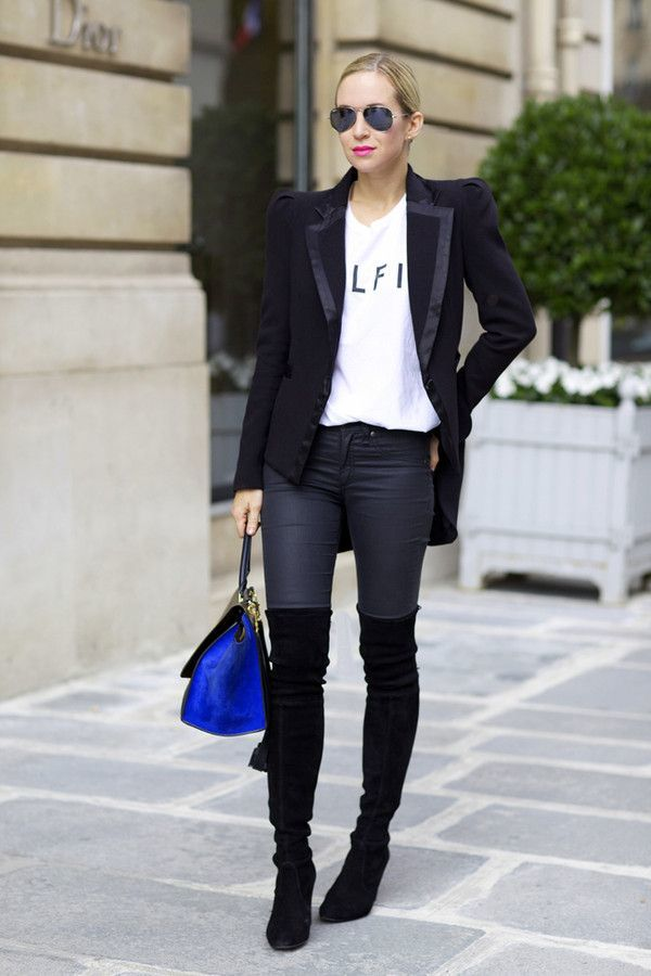 f6f80151f2 Wondering how to wear tall boots to the office? Helena of Brooklyn Blonde  has the perfect outfit idea for casual Friday. Take a graphic tee and dark  skinny ...