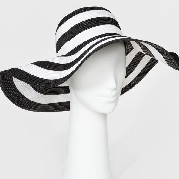 black-and-white striped floppy sun hats for women