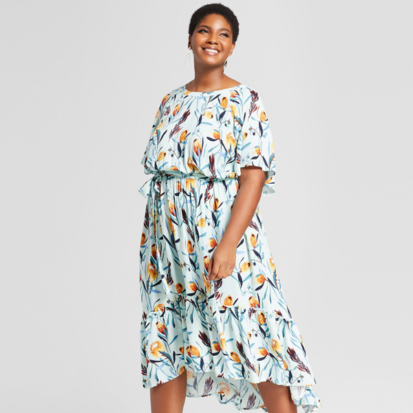 midi floral dress in a plus size
