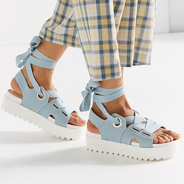 denim flatform sandals with ankle ties and white soles
