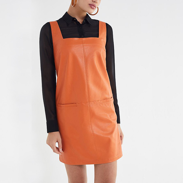 orange faux leather overall dress