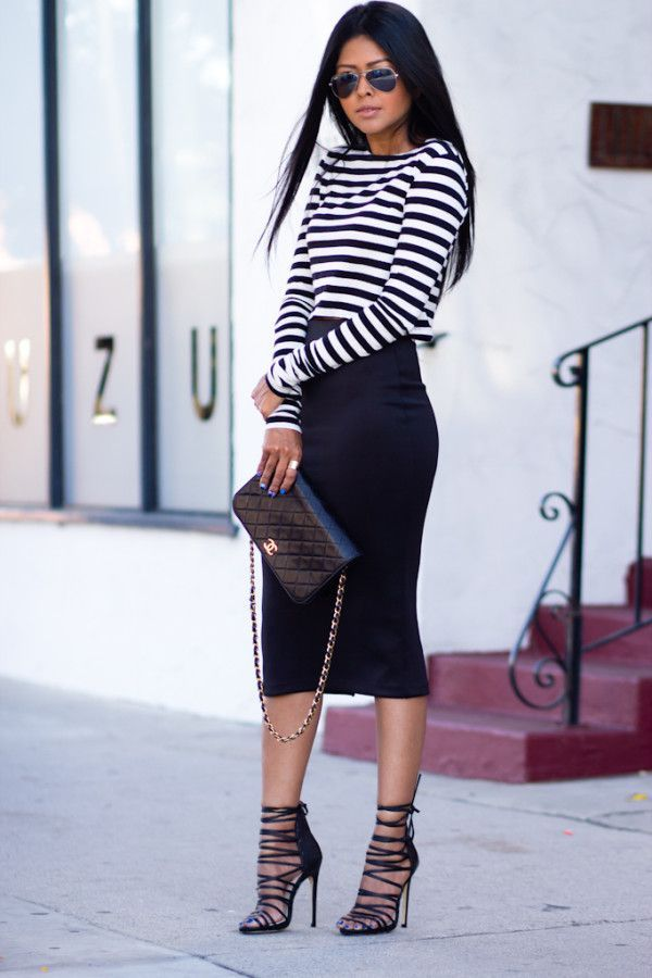 e0c5f7fc0a A striped shirt is a no-brainer for casual looks, but we love this  dressed-up take on Sheryl of Walk in Wonderland. Her shirt gives the style  that ...
